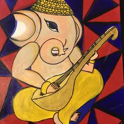 ganesha with a veena, 12 x 18 inch, anuradha bansal,12x18inch,brazilian paper,paintings,folk art paintings,religious paintings,portrait paintings,ganesha paintings | lord ganesh paintings,paintings for dining room,paintings for living room,paintings for bedroom,paintings for office,paintings for bathroom,paintings for kids room,paintings for hotel,paintings for kitchen,paintings for school,paintings for hospital,acrylic color,GAL01557826314,ganpati,ganesha,lord ganesh,elephant god,religious,ganpati bappa morya,sitar,melody
