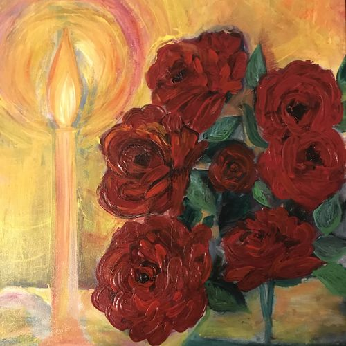 roses and candles, 12 x 18 inch, anuradha bansal,12x18inch,thick paper,paintings,flower paintings,paintings for dining room,paintings for living room,paintings for bedroom,paintings for office,paintings for bathroom,paintings for kids room,paintings for hotel,paintings for kitchen,paintings for school,paintings for hospital,acrylic color,GAL01557826317
