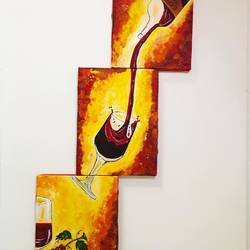 tribute to joy of wine - split painting , 7 x 30 inch, anuj sarkar,7x30inch,canvas board,paintings,modern art paintings,multi piece paintings,conceptual paintings,contemporary paintings,paintings for dining room,paintings for living room,paintings for office,paintings for hotel,paintings for kitchen,acrylic color,GAL01457026322