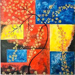 abstract golden flowers painting, 16 x 16 inch, anuj sarkar,16x16inch,canvas,paintings,abstract paintings,flower paintings,modern art paintings,conceptual paintings,nature paintings | scenery paintings,contemporary paintings,paintings for living room,paintings for bedroom,paintings for office,paintings for kids room,paintings for hotel,paintings for school,paintings for hospital,acrylic color,GAL01457026325