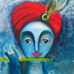 shri krishna, 18 x 24 inch, dimple goyal,18x24inch,canvas,paintings,religious paintings,radha krishna paintings,paintings for dining room,paintings for living room,paintings for bedroom,paintings for hotel,radha krishna drawings,paintings for dining room,paintings for living room,paintings for bedroom,paintings for hotel,oil color,GAL01565026329,krishna,Lord krishna,krushna,flute,peacock feather,melody,peace,religious,god,love