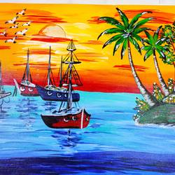 sea painting, 24 x 18 inch, vimal drall,24x18inch,canvas,paintings,nature paintings | scenery paintings,paintings for dining room,paintings for living room,paintings for hotel,acrylic color,GAL01417726336