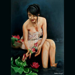 flower collecting lady, 22 x 31 inch, ratheesan veniyil,22x31inch,canvas,paintings,paintings for dining room,paintings for living room,paintings for bedroom,paintings for hotel,oil color,GAL0930926339
