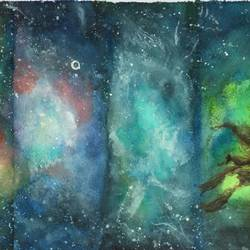 nebula love, 12 x 8 inch, sandeep pranoy ,modern art paintings,paintings for office,handmade paper,watercolor,12x8inch,GAL010202634