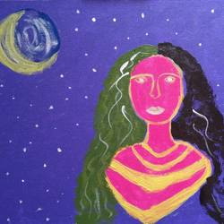 girl in moonlight, 18 x 24 inch, aastika saxena,18x24inch,canvas,paintings,abstract paintings,figurative paintings,paintings for dining room,paintings for living room,paintings for bedroom,paintings for office,paintings for hotel,acrylic color,GAL01549526344