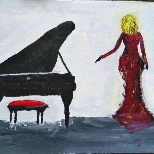 piano woman, 14 x 22 inch, aastika saxena,14x22inch,canvas,paintings,figurative paintings,conceptual paintings,paintings for dining room,paintings for living room,paintings for bedroom,paintings for office,paintings for hotel,acrylic color,GAL01549526346