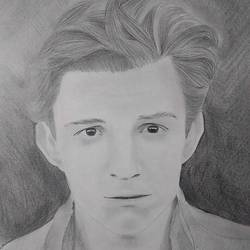 tom holland , 9 x 12 inch, neha musale,9x12inch,paper,drawings,portrait drawings,paintings for living room,paintings for kids room,graphite pencil,paper,GAL01557726347