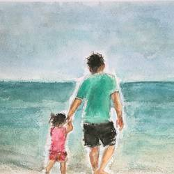 dad and daughter, 12 x 8 inch, sandeep pranoy ,figurative paintings,paintings for living room,nature paintings,handmade paper,watercolor,12x8inch,GAL010202635Nature,environment,Beauty,scenery,greenery