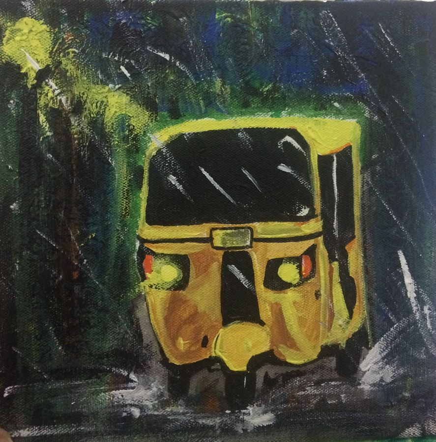 auto in rainy night, 7 x 7 inch, kinjal chowdhury,7x7inch,canvas,paintings,abstract paintings,still life paintings,nature paintings   scenery paintings,art deco paintings,paintings for dining room,paintings for living room,paintings for bedroom,paintings for office,paintings for kids room,paintings for hotel,paintings for hospital,acrylic color,GAL01565926350