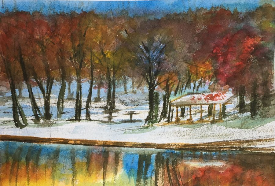 frozen reflections, 12 x 8 inch, sandeep pranoy ,conceptual paintings,paintings for bedroom,landscape paintings,nature paintings,handmade paper,watercolor,12x8inch,GAL010202636Nature,environment,Beauty,scenery,greenery