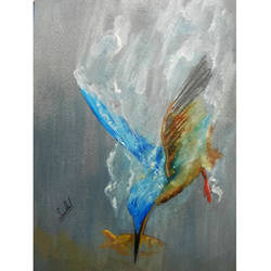 wild life portrait  - bird painting - kingfisher, 8 x 12 inch, senthil kumar a,8x12inch,thick paper,paintings,wildlife paintings,still life paintings,portrait paintings,photorealism,portraiture,animal paintings,horse paintings,dog painting,paintings for dining room,paintings for living room,paintings for bedroom,paintings for office,paintings for bathroom,paintings for kids room,paintings for hotel,paintings for kitchen,paintings for school,paintings for hospital,acrylic color,watercolor,GAL01543426361