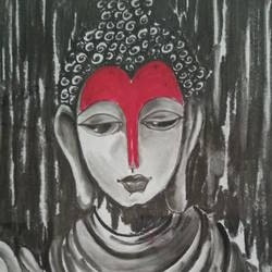 buddha, 11 x 15 inch, shweta loiwal,11x15inch,canvas,paintings,horse paintings,charcoal,GAL01533726362