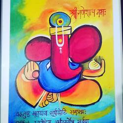 ganesh, 11 x 15 inch, shweta loiwal,11x15inch,canvas,paintings,ganesha paintings   lord ganesh paintings,paintings for living room,paintings for office,acrylic color,GAL01533726364