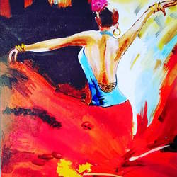 lady doing spanish dance, 11 x 15 inch, shweta loiwal,11x15inch,canvas,paintings,figurative paintings,paintings for dining room,paintings for living room,paintings for office,paintings for dining room,paintings for living room,paintings for office,acrylic color,GAL01533726367