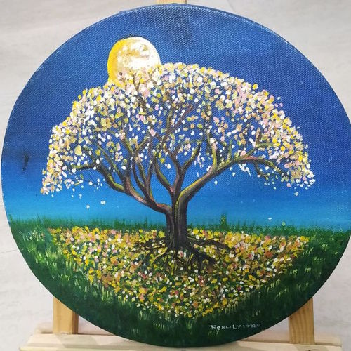 tree under the moon, 10 x 10 inch, renu umrao,10x10inch,canvas,abstract paintings,flower paintings,nature paintings | scenery paintings,paintings for dining room,paintings for living room,paintings for bedroom,paintings for kids room,paintings for hotel,paintings for school,paintings for dining room,paintings for living room,paintings for bedroom,paintings for kids room,paintings for hotel,paintings for school,oil color,GAL01563926383