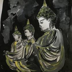 buddha, 8 x 12 inch, aindrila biswas,8x12inch,thick paper,paintings,buddha paintings,paintings for dining room,paintings for living room,paintings for bedroom,paintings for dining room,paintings for living room,paintings for bedroom,acrylic color,bronze,GAL01480726389
