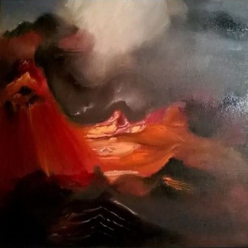 dust, blood & the almighty mountain, 55 x 40 inch, emina alagic,abstract expressionist paintings,paintings for bedroom,nature paintings,canvas,oil,55x40inch,GAL010372639Nature,environment,Beauty,scenery,greenery