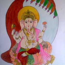ganpati, 14 x 12 inch, poornima sahu,14x12inch,drawing paper,paintings,figurative paintings,ganesha paintings | lord ganesh paintings,paintings for living room,paintings for office,paintings for hotel,paintings for school,watercolor,ball point pen,GAL0447126391