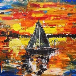 black boat, 16 x 12 inch, indra pandey,16x12inch,canvas,paintings,abstract paintings,nature paintings | scenery paintings,paintings for dining room,paintings for living room,paintings for bedroom,paintings for office,paintings for hotel,paintings for hospital,acrylic color,GAL01406326395