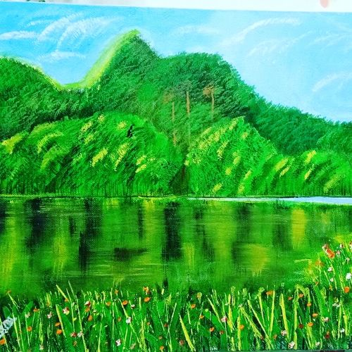 green mountain, 16 x 12 inch, indra pandey,16x12inch,canvas,paintings,nature paintings   scenery paintings,paintings for dining room,paintings for living room,paintings for bedroom,paintings for office,paintings for hotel,paintings for hospital,paintings for dining room,paintings for living room,paintings for bedroom,paintings for office,paintings for hotel,paintings for hospital,acrylic color,GAL01406326396