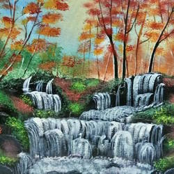 water fall , 16 x 12 inch, indra pandey,16x12inch,canvas,paintings,nature paintings | scenery paintings,paintings for dining room,paintings for living room,paintings for bedroom,paintings for office,paintings for bathroom,paintings for hotel,paintings for kitchen,paintings for school,acrylic color,GAL01406326399