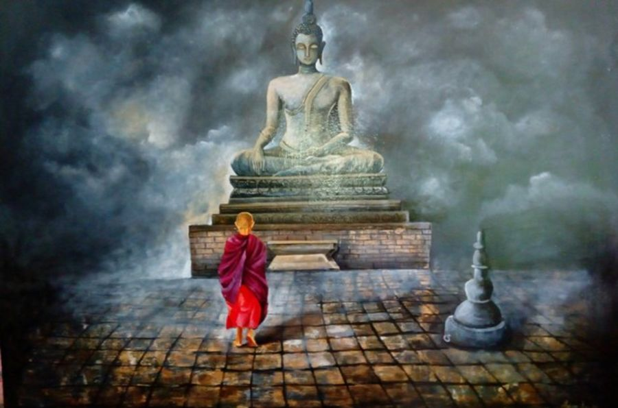 buddha and monk child peace, 36 x 36 inch, arjun das,buddha paintings,paintings for dining room,canvas,acrylic color,36x36inch,GAL0112264