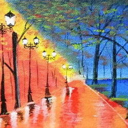 street of colours, 8 x 5 inch, indra pandey,8x5inch,canvas,paintings,nature paintings | scenery paintings,paintings for dining room,paintings for living room,paintings for bedroom,paintings for office,paintings for hotel,paintings for kitchen,acrylic color,GAL01406326400