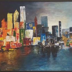 city reflections, 60 x 36 inch, swarna  rao,60x36inch,canvas,paintings,cityscape paintings,acrylic color,mixed media,GAL0158726401