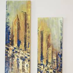city on the move , 12 x 48 inch, swarna  rao,12x48inch,canvas,cityscape paintings,acrylic color,mixed media,GAL0158726402