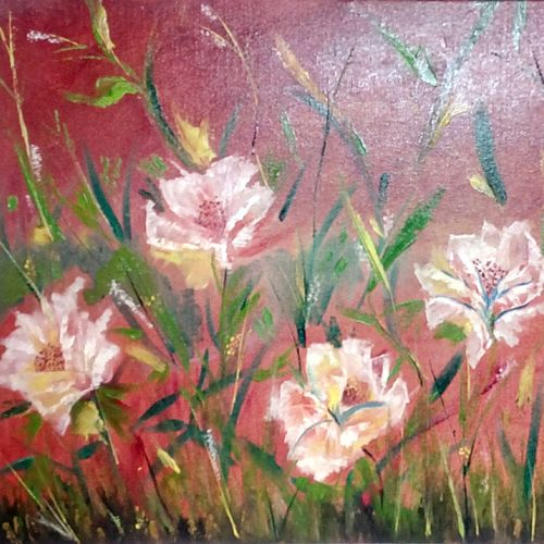 flowers in garden, floral, 36 x 24 inch, hriday  das,flower paintings,paintings for living room,canvas,oil,36x24inch,GAL09832641