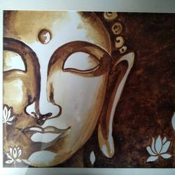 coffee buddha, 15 x 11 inch, shweta loiwal,15x11inch,canvas,paintings,buddha paintings,paintings for living room,paintings for office,paintings for living room,paintings for office,coffee,GAL01533726417