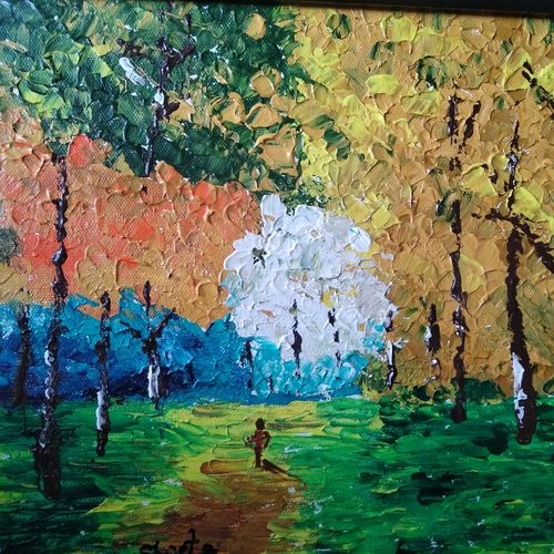 wandering in woods, 12 x 10 inch, shweta loiwal,12x10inch,canvas,paintings,nature paintings | scenery paintings,paintings for dining room,paintings for living room,paintings for bedroom,acrylic color,GAL01533726418