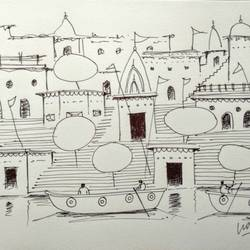 varanasi ghat , 11 x 8 inch, girish chandra vidyaratna,11x8inch,paper,drawings,fine art drawings,modern drawings,paintings for living room,ball point pen,GAL03626419