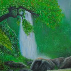 waterfall, 14 x 18 inch, rijoy  emmanuel,14x18inch,canvas,paintings,wildlife paintings,landscape paintings,water fountain paintings,paintings for dining room,paintings for living room,paintings for bedroom,paintings for office,paintings for bathroom,paintings for kids room,paintings for hotel,paintings for kitchen,paintings for hospital,acrylic color,oil color,GAL0643126423