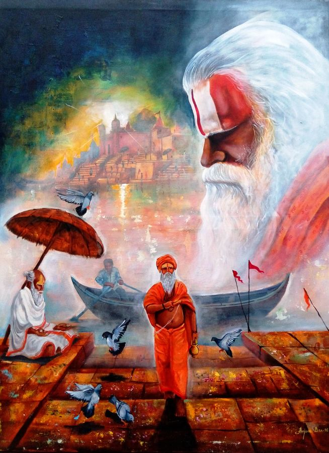 banaras ghat, 36 x 48 inch, arjun das,paintings for living room,contemporary paintings,canvas,acrylic color,36x48inch,GAL01122643