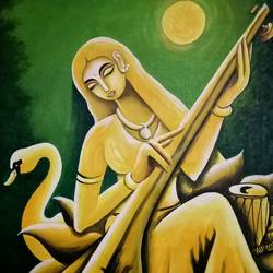 abstract saraswati, 20 x 24 inch, shyamal pal,20x24inch,canvas,paintings,abstract paintings,acrylic color,GAL01479226432