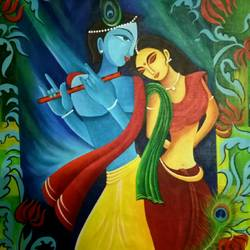 radha krishna, 36 x 24 inch, shyamal pal,36x24inch,canvas,paintings,abstract paintings,acrylic color,GAL01479226433