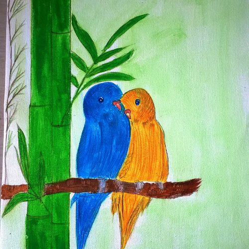 birds on tree, 12 x 20 inch, minakhi choudhury,12x20inch,canvas,paintings,wildlife paintings,nature paintings   scenery paintings,paintings for living room,paintings for kitchen,acrylic color,GAL01441426440
