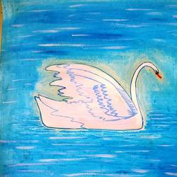 swan in water, 18 x 12 inch, minakhi choudhury,18x12inch,thick paper,paintings,nature paintings | scenery paintings,paintings for dining room,paintings for office,acrylic color,poster color,GAL01441426441