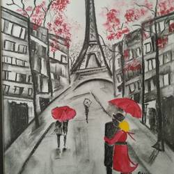 paris love, 11 x 15 inch, shweta loiwal,11x15inch,canvas,paintings,cityscape paintings,paintings for dining room,paintings for living room,paintings for office,charcoal,GAL01533726444