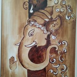 ganesha , 11 x 15 inch, shweta loiwal,11x15inch,canvas,paintings,ganesha paintings | lord ganesh paintings,paintings for dining room,paintings for living room,paintings for office,paintings for dining room,paintings for living room,paintings for office,coffee,GAL01533726445