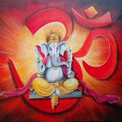 om ganesha, 48 x 36 inch, arjun das,ganesha paintings,paintings for dining room,paintings for living room,paintings for office,horizontal,canvas,acrylic color,48x36inch,GAL01122645,vinayak,ekadanta,ganpati,lambodar,peace,devotion,religious,lord ganesha,lordganpati