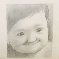 chubby baby, 7 x 9 inch, riya thatte,7x9inch,thick paper,drawings,portrait drawings,kids drawings,paintings for bedroom,paintings for kids room,charcoal,pencil color,paper,GAL01576926453