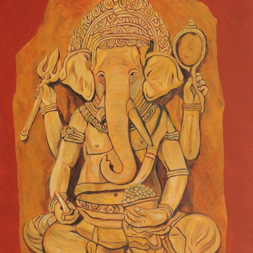 ganesha in pensive mood, 24 x 36 inch, ajay harit,24x36inch,canvas,religious paintings,ganesha paintings | lord ganesh paintings,paintings for dining room,paintings for living room,paintings for office,paintings for hotel,paintings for school,paintings for hospital,paintings for dining room,paintings for living room,paintings for office,paintings for hotel,paintings for school,paintings for hospital,oil color,GAL0199826455