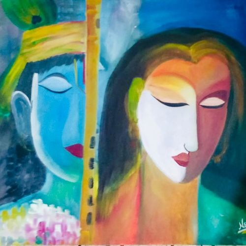 gopi in krishna conscious., 16 x 24 inch, dimple goyal,16x24inch,canvas,paintings,modern art paintings,conceptual paintings,paintings for dining room,paintings for living room,paintings for bedroom,paintings for hotel,paintings for school,paintings for hospital,oil color,GAL01565026456