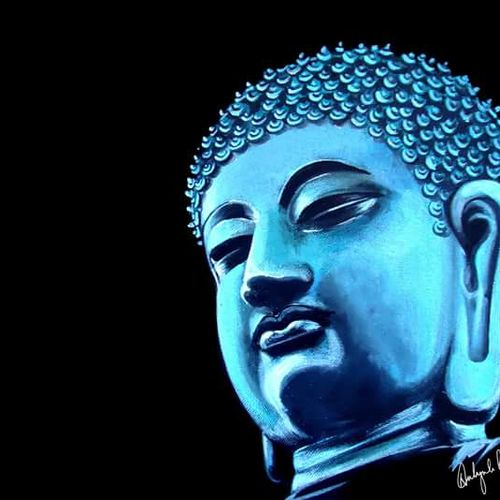 buddha portrait, 14 x 10 inch, n paul,buddha paintings,paintings for office,religious paintings,paintings for living room,canvas,acrylic color,14x10inch,GAL09372646