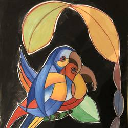 union parrot painting, 12 x 15 inch, tanesha gupta,12x15inch,paper,abstract paintings,modern art paintings,conceptual paintings,surrealism paintings,watercolor,GAL0355326467