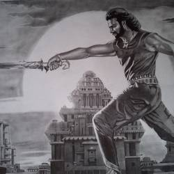 bahubali, 22 x 30 inch, shiuli majumder,22x30inch,cartridge paper,drawings,figurative drawings,graphite pencil,GAL01355226469