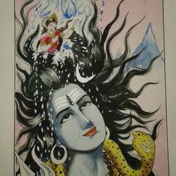 painting of lord shiva, 12 x 16 inch, shiuli majumder,12x16inch,cartridge paper,paintings,religious paintings,watercolor,GAL01355226470