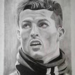 ronaldo, 22 x 30 inch, shiuli majumder,22x30inch,cartridge paper,drawings,portrait drawings,mixed media,GAL01355226471